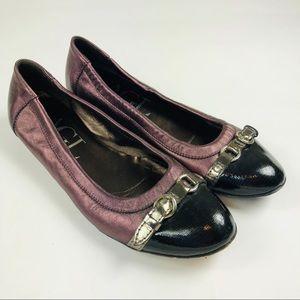 AGL Purple Leather Cap Toe Flats EU 38.5 US 8.5